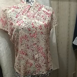St. john silk short sleeve blouse